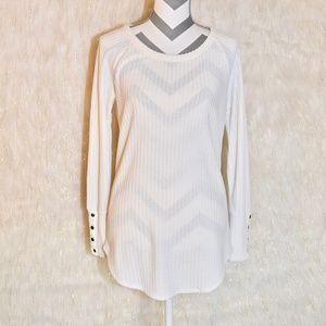 Oversized Ivory White Top (M) With Buttons